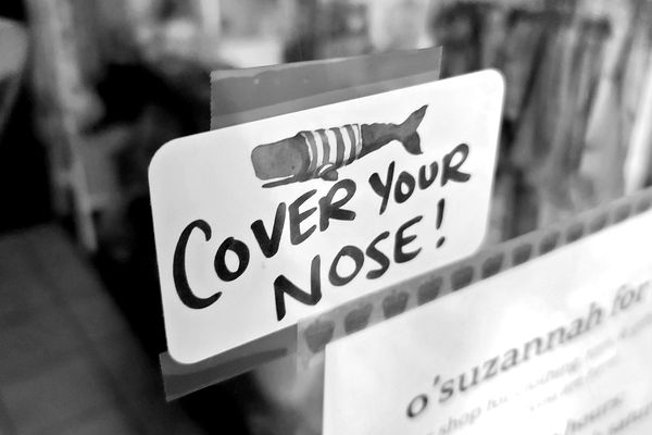 """Sign reading, """"Cover your nose!"""" in the window of O'Suzannah, a store on the downtown mall in Charlottesville, Virginia, in response to people who would cover only their mouths, and leave their noses out of their masks."""