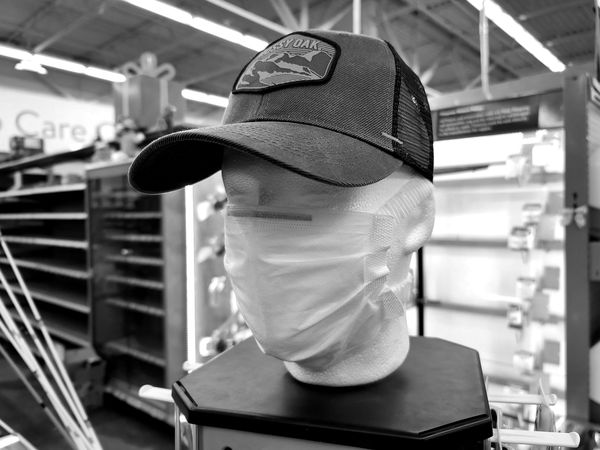 Mask on a styrofoam mannequin head in the sporting goods department at the Walmart Supercenter in Waynesboro, Pennsylvania.