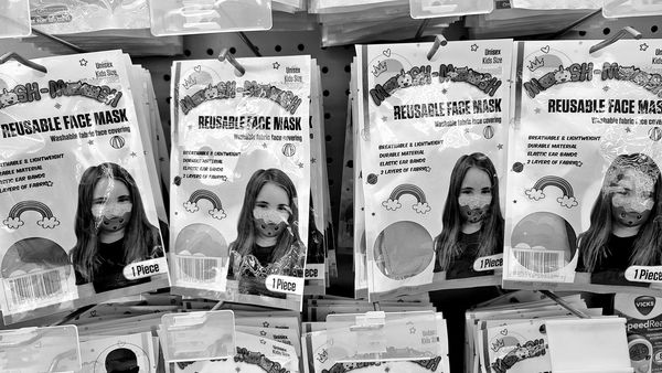 Reusable face masks for children on a rack at the Shoppers Food store in Laurel, Maryland.
