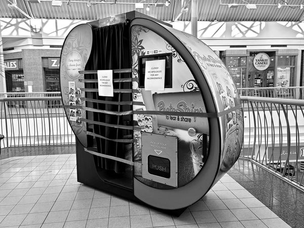 Photo booth at the York Galleria shopping mall in York, Pennsylvania, blocked off in an apparent effort to limit the spread of COVID-19.