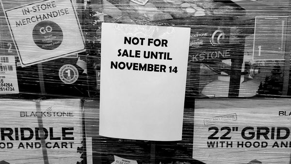 """Pallet of """"Black Friday"""" merchandise at the Walmart Supercenter in Waynesboro, Pennsylvania. In an effort to promote social distancing, Walmart eschewed its traditional Black Friday sale in favor of spreading sales out over the entire month."""