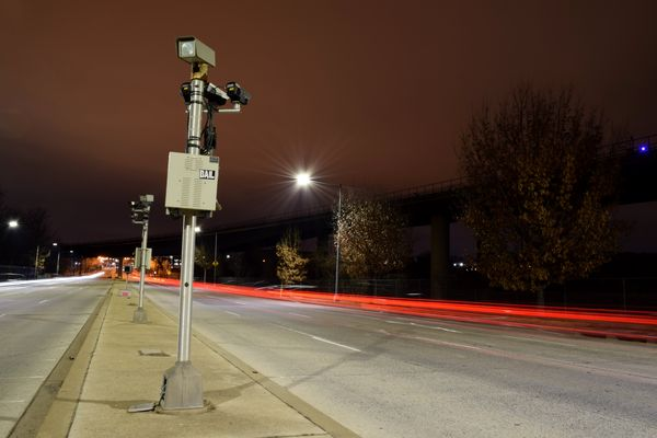 Speed enforcement cameras in the median of Benning Road NE in Washington, DC.