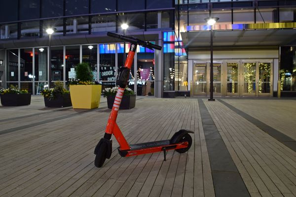 A Jump scooter awaits its next rider in a plaza in the Rosslyn neighborhood of Arlington, Virginia.
