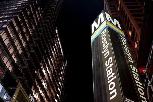 Street pylon for the Rosslyn Metro station, on North Moore Street in Arlington, Virginia.