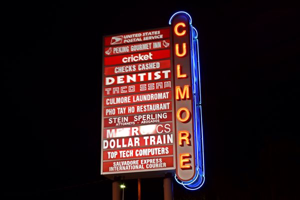 Signage for the Culmore Shopping Center in the Bailey's Crossroads area of Fairfax County, Virginia.
