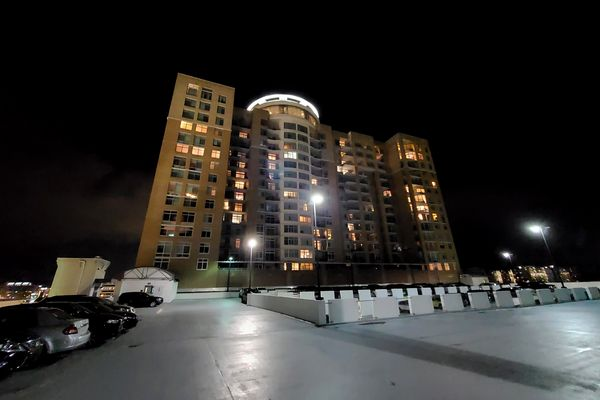 Midtown Bethesda North condominium building, viewed from the Montrose Crossing parking garage in Rockville, Maryland.