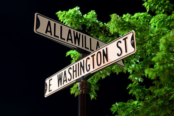 Street signs at the intersection of Alla Willa Drive and East Washington Street in Charles Town, West Virginia.