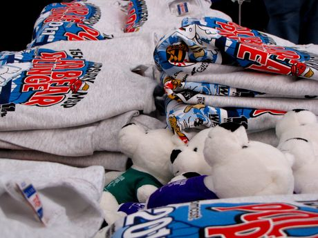 In the sponsor tent, Plungefest sweatshirts lay on a table waiting to be sold.