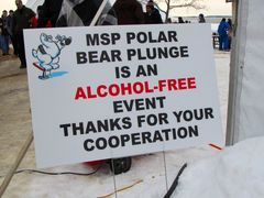 Sign advising participants that the event is now an alcohol-free event - a change from previous years.