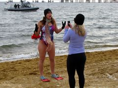 A woman is interviewed for the camera prior to the second plunge.