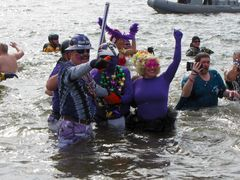 A group of Baltimore Ravens fans takes the plunge.