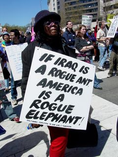 """""""If Iraq is a rogue ant, America is a rogue elephant!"""" A new way of saying that people in glass houses shouldn't throw stones."""