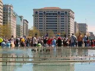 Along the fountain in Freedom Plaza, people lined up and took seats to watch the speakers. As you can see, this was a packed event!