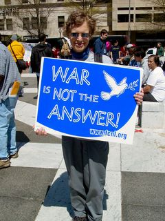 War is not the answer! The Web site advertised on the poster is that of the Friends Committee on National Legislation, described as a Quaker lobby in the public interest.