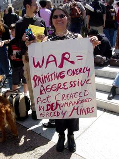 """""""War = Primitive Overly Aggressive Act Created by Dehumanized Greedy Minds"""""""