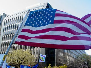 Seeing a full, traditional American flag was a rarity today, as the flag took on many forms as an expression of various ideas. But simply put, we all support America, and fly its flag proudly.