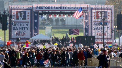 The stage for the Rally to Restore Sanity and/or Fear on the National Mall, just west of 3rd Street NW/SW.