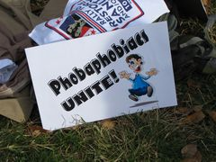 """A sign makes fun of the """"fear"""" concept with its message of """"Phobophobiacs unite!"""" Phobophobia is the fear of fear."""