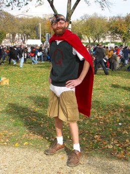 A man dresses as Quail Man from the television series Doug. I was quite impressed by this costume - he really did look like a grown up version of Doug Funnie from the television series!