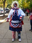 A person dresses in stars and stripes.