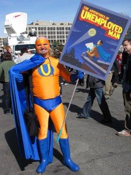 A man dresses as Unemployed Man.