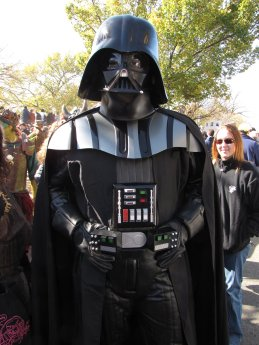 A man dresses as Darth Vader. The man got a huge kick out of it when I asked him if he was dressed as Darth Vader or Chad Vader.