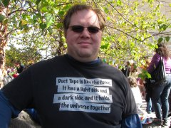 A man wears a t-shirt likening duct tape to the Force.
