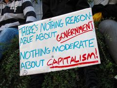 """A sign sits in a bush stating, """"There's nothing reasinable about government, [and] nothing moderate about capitalism!"""""""