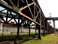 Railroad trestle east of the Richmond floodwall.