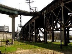 Railroad trestle and ramp between northbound Interstate 95 and the Downtown Expressway east of the Richmond floodwall.