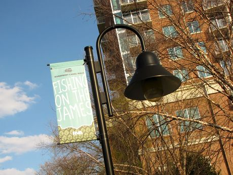 Lamppost and banner.