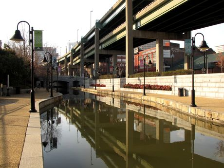 View facing west from the south side of the Canal, slightly west of the Triple Crossing.