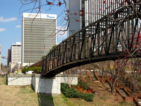 Footbridge over the Canal, connecting Brown's Island with downtown Richmond at 7th Street, between the Federal Reserve and MeadWestvaco buildings.