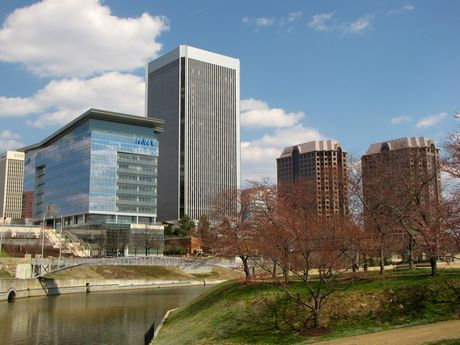 View from Brown's Island facing east, showing MWV, Federal Reserve, and Riverfront Plaza buildings.