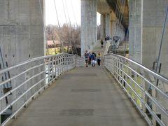 Belle Isle footbridge, suspended beneath the Robert E. Lee Memorial Bridge, facing south.