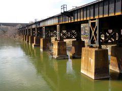 Railroad bridge along the north bank of the James River.