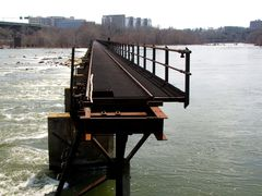 Abandoned railroad bridge over the James River. View facing south from Brown's Island.