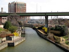 Eastward view of the Canal from the 7th Street footbridge. Brown's Island is to the right.