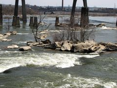 Rocks and abandoned bridge piers in the James River.