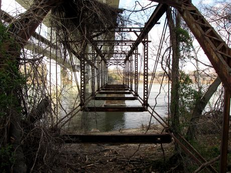 Abandoned bridge over the James River on Belle Isle.