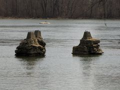 Abandoned bridge piers in the James River.