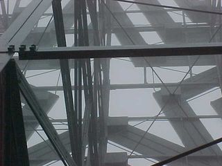 In these views from behind the support structure, steel beams connect to the back of the star itself.