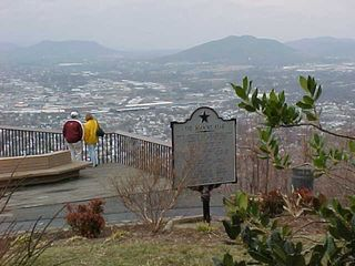Now that the fog is gone, the city of Roanoke is clearly visible, from this view leaning against the front of the star's support structure.