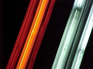 """These shots of the neon tubing in its various colors is interesting because it shows the distance between the various rings of the star in an """"up close and personal"""" way."""