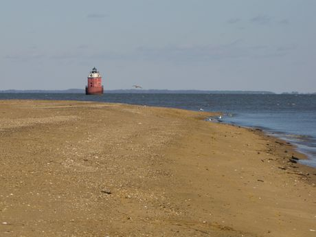 Southeast end of the park. Sandy Point Shoal Light is visible in the distance.