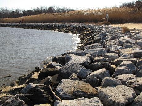 Rocks line the shore at the east edge of the park, just south of East Beach.
