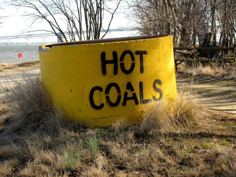 """""""HOT COALS"""" receptacle near a picnic area on the east side of the park. Receptacles such as these are located throughout the park for safe disposal of grilling materials."""