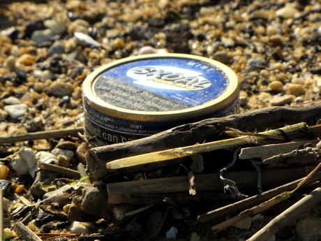 Can of chewing tobacco, discarded on the beach.