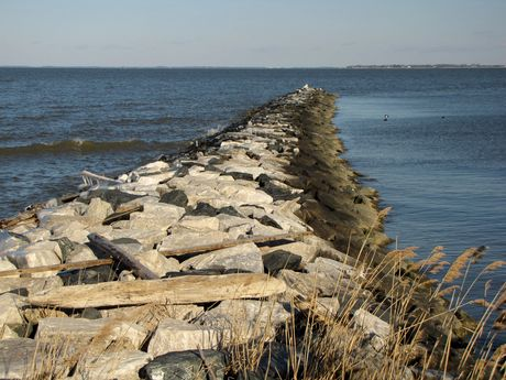 Rock jetty at the northern end of East Beach.