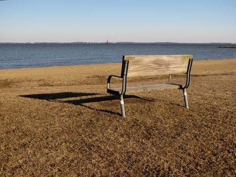 Park bench overlooking the bay at East Beach.